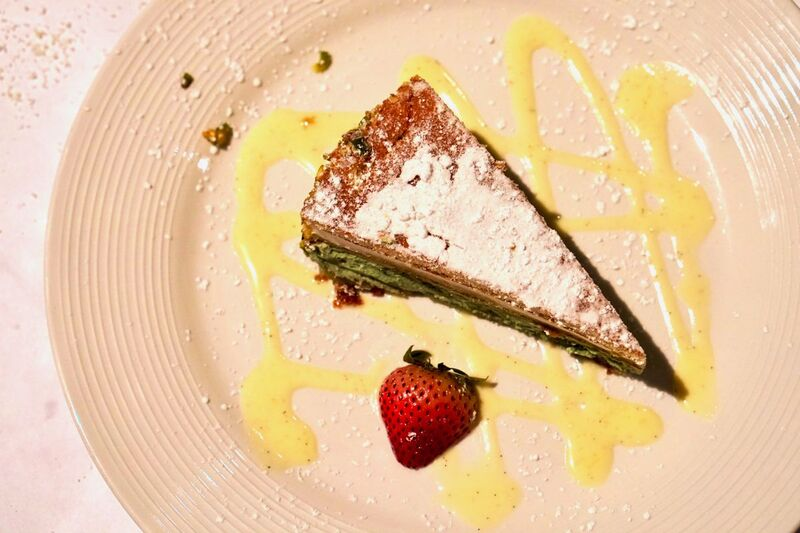 Vanilla pistachio torte at Celestino, photo taken by the Foodie Biz